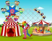 Fotografie Cartoon glückliche Kinder und Clown im Freizeitpark