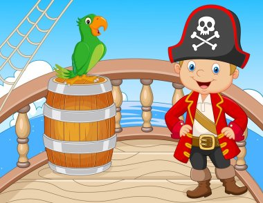Cartoon pirate on the ship with green parrot