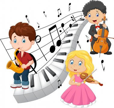 Little kids playing music with piano tone background