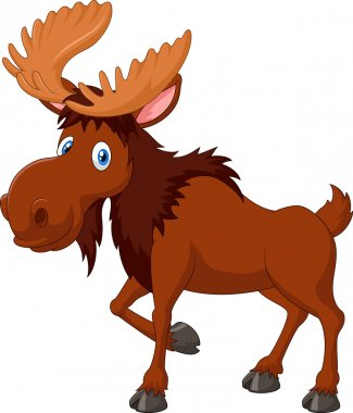 Cartoon brown moose isolated on white background