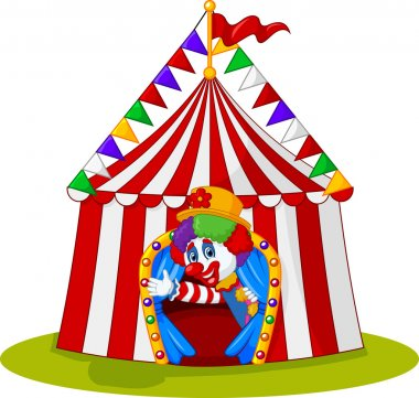 Cartoon clown come out from circus tent