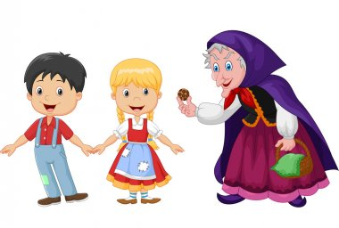 Classic children story Hansel and Gretel with a witch isolated on white background