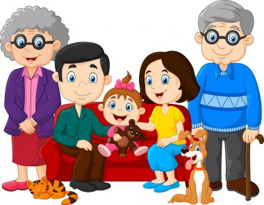 Cartoon happy family isolated on white background