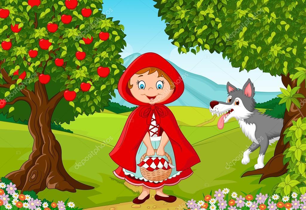 Piccola riunione di cappuccetto rosso con un lupo u vettoriali