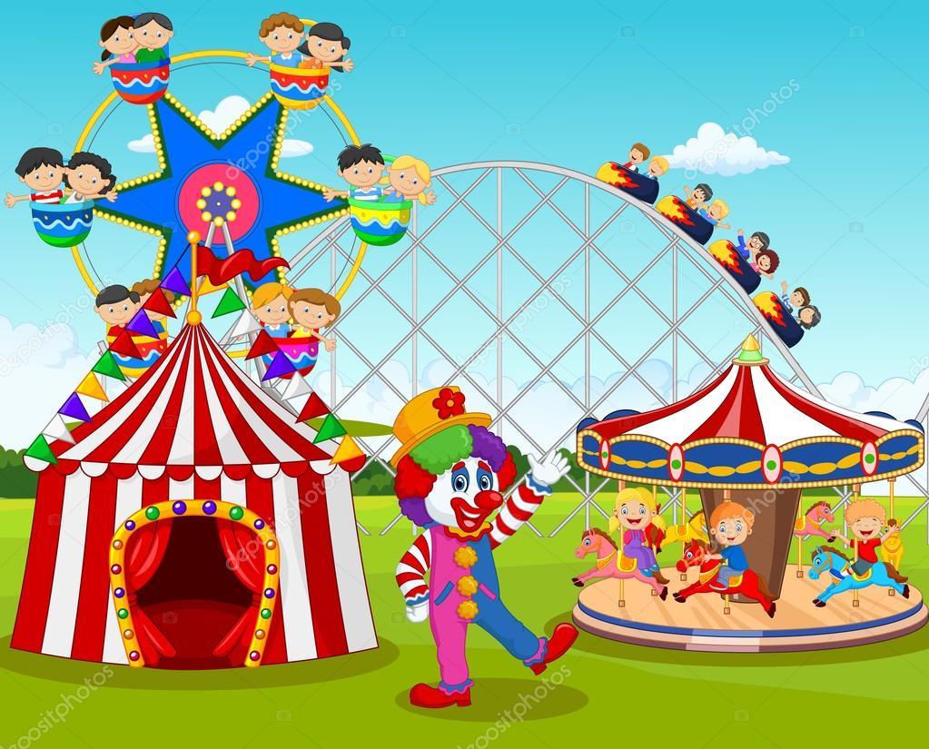 Dibujos Animados De Niños Felices Y Payaso En El Parque