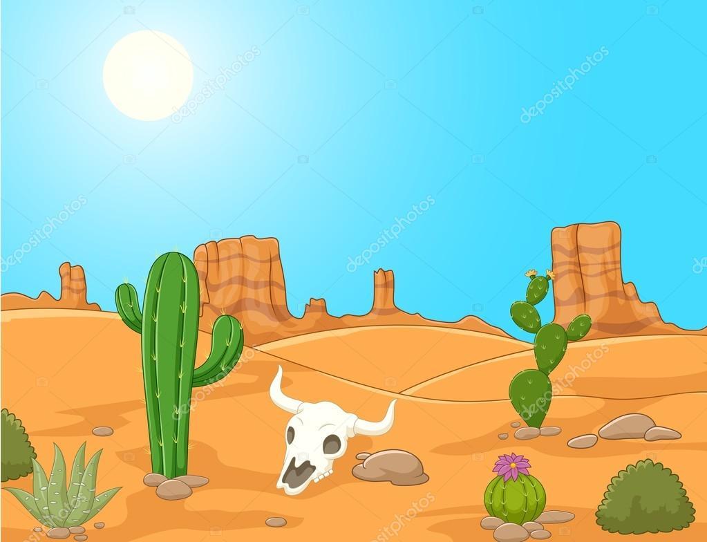 Cartoon desert landscape wild west illustration — stock