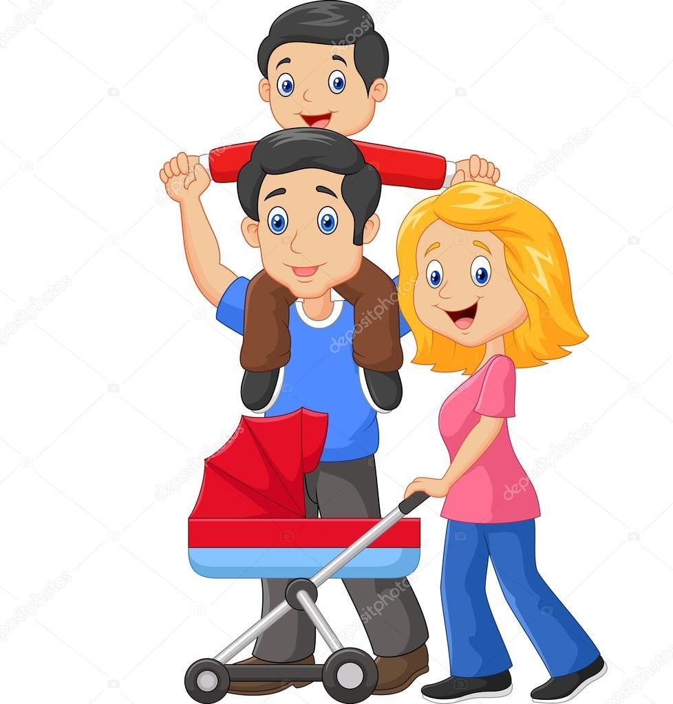 Padre Dando A Su Hijo El Paseo Con La Madre Empujando