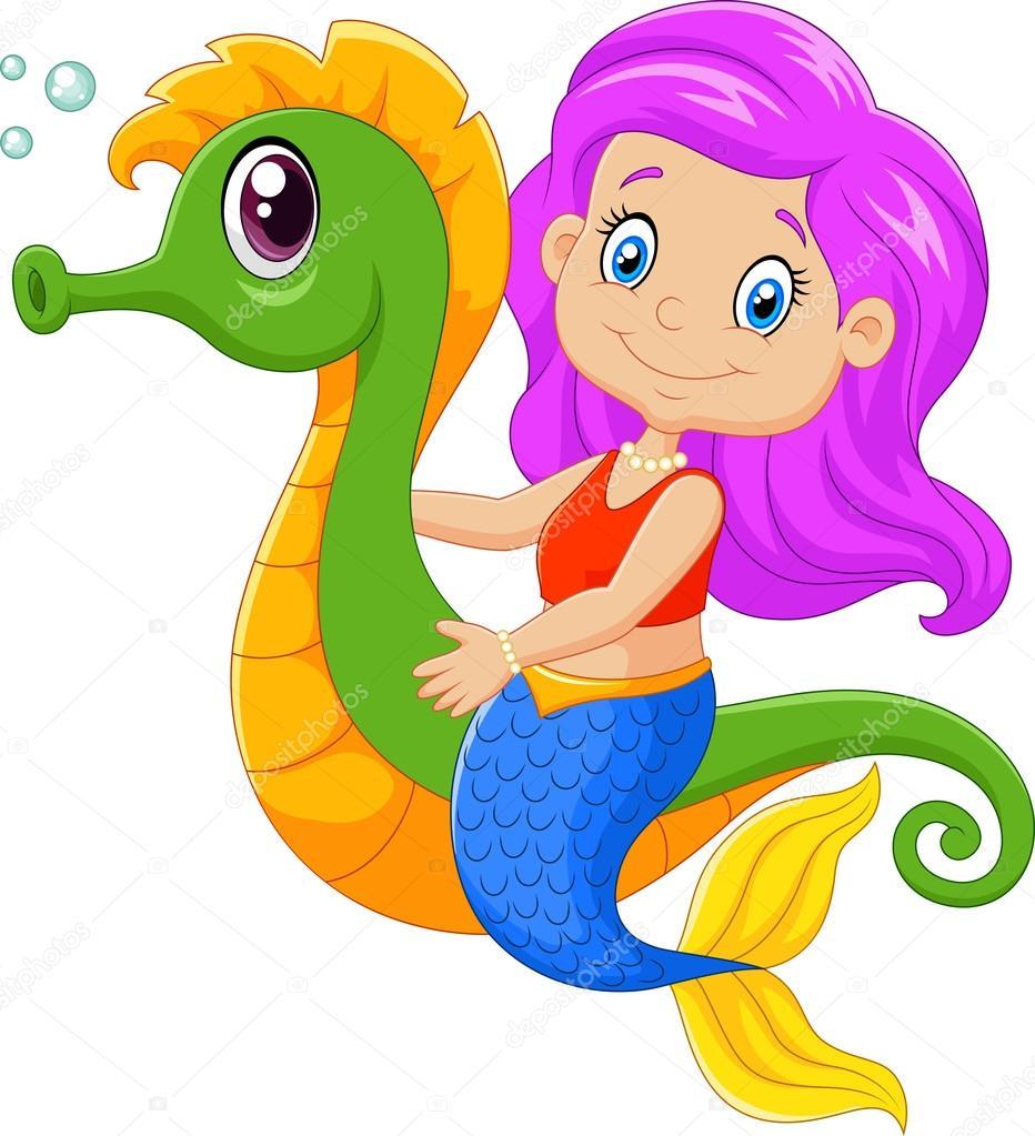 sirena de feliz de dibujos animados nadando con caballito de mar vector de stock  u00a9 tigatelu clip art seahorse images clip art seahorse images