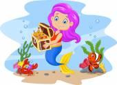 Kreslené vtipné mořská panna drží pokladnice s podvodní pozadím