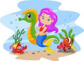 Kreslený roztomilý pannu jízdě spolu s rybami a krab mořský koník