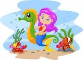 Cartoon cute mermaid riding seahorse accompanied by fish and crab