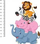 Fotografia Scala di altezza con insieme di accumulazione animale divertente Africa