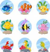 Cartoon sea life collection set