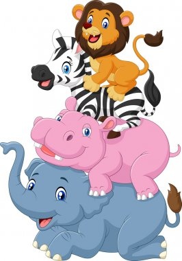 Vector illustration of Cartoon funny animal standing on top of each other clip art vector