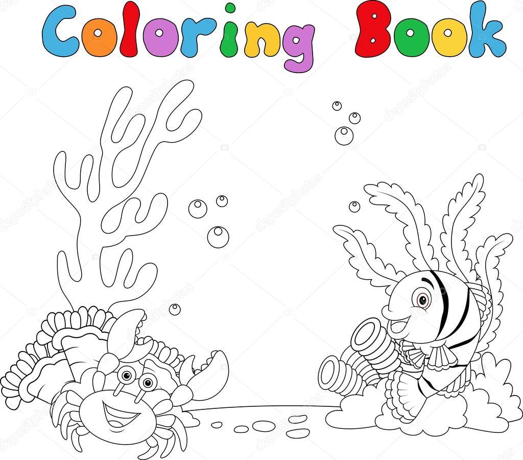 Bajo el agua, libro para colorear de dibujos animados — Vector de ...