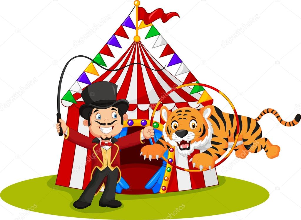 Cartoon tiger jumping through ring with circus tent background u2014 Stock Vector  sc 1 st  Depositphotos & Cartoon tiger jumping through ring with circus tent background ...