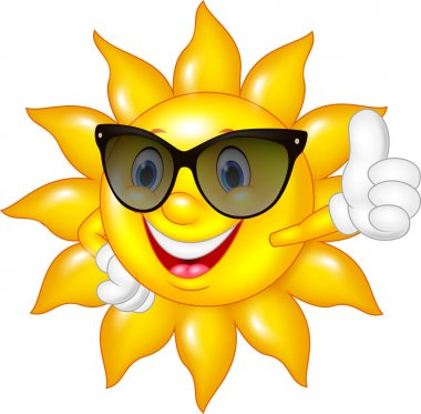 Cartoon sun giving thumbs up isolated on white background