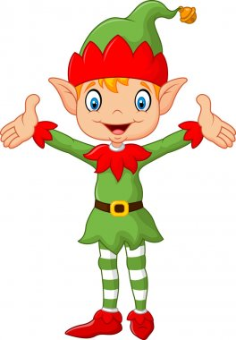 Cute green elf boy costume hands up . isolated on white background