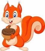 Karikatur Eichhörnchen hält Tannenzapfen isoliert auf weißem Hintergrund