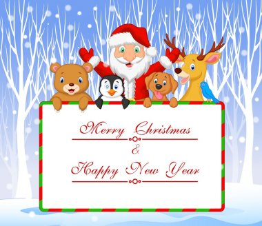 Cartoon Santa and friend holding Christmas greeting with winter background