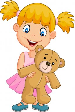 Cartoon little girl playing with teddy bear