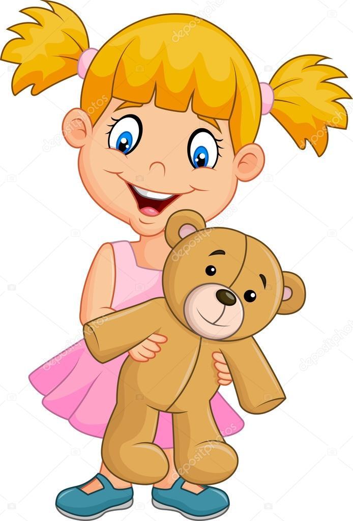 ni u00f1a jugando con el osito de peluche de dibujos animados Clip Art Group of Stuffed Animals Cartoon Stuffed Animals