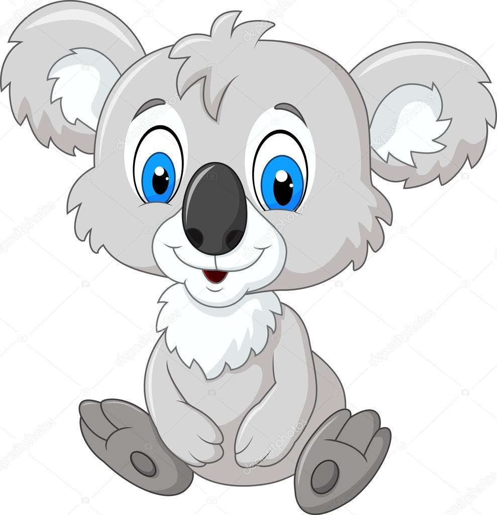 Dessin animé adorable koala assis isolé sur fond blanc ...