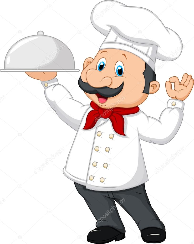 Cartoon chef holding a silver platter — stock vector