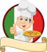 Kreslený šéfkuchař držící pizzu a dává palec