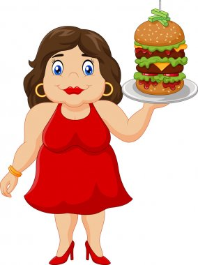 Cartoon overweight woman holding fast food