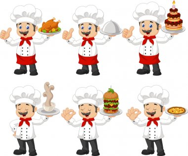 Cartoon chef collection set isolated on white background