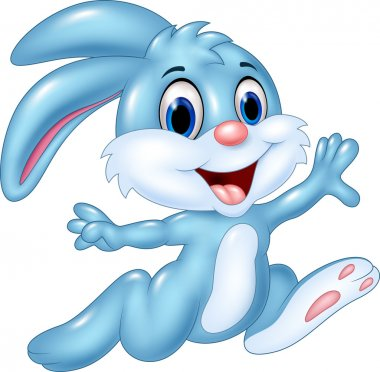 Cartoon happy bunny running isolated on white background