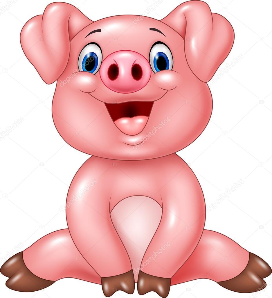 Cochon de b b adorable dessin anim isol sur fond blanc - Dessin cochon mignon ...