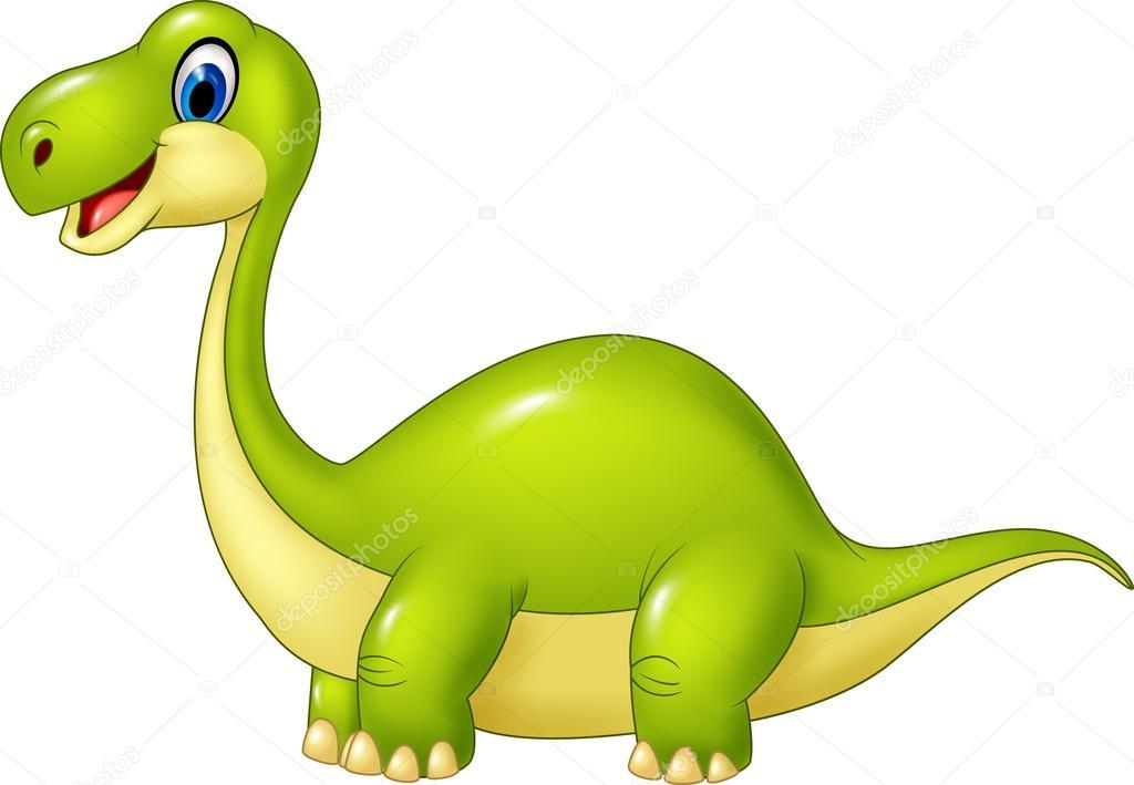 Dinosaure dessin anim vert isol sur fond blanc image - Dinosaure dessin anime disney ...