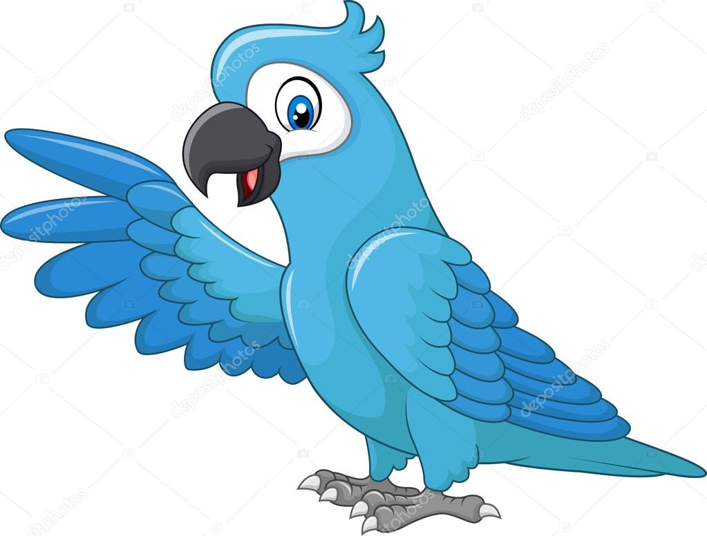 Vector Arara Azul De Dibujos Animados Divertido Guacamayo Azul
