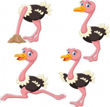 Cartoon funny ostrich collection set