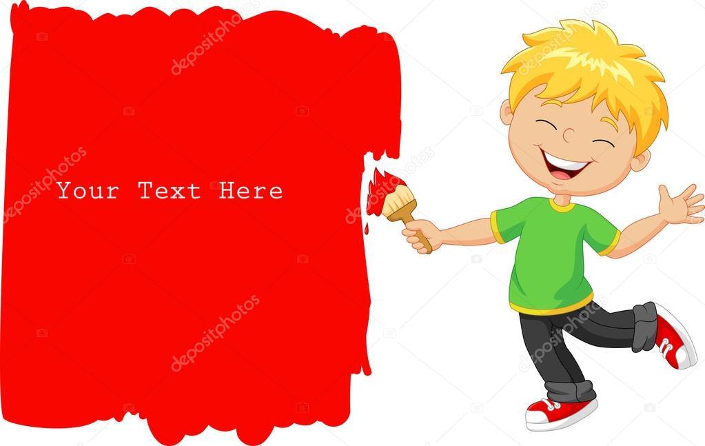 dessin anim petit gar on peignant le mur avec la couleur. Black Bedroom Furniture Sets. Home Design Ideas