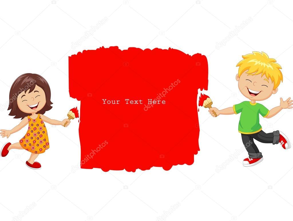 Dibujos animados de niños pintando la pared con color rojo — Archivo ...