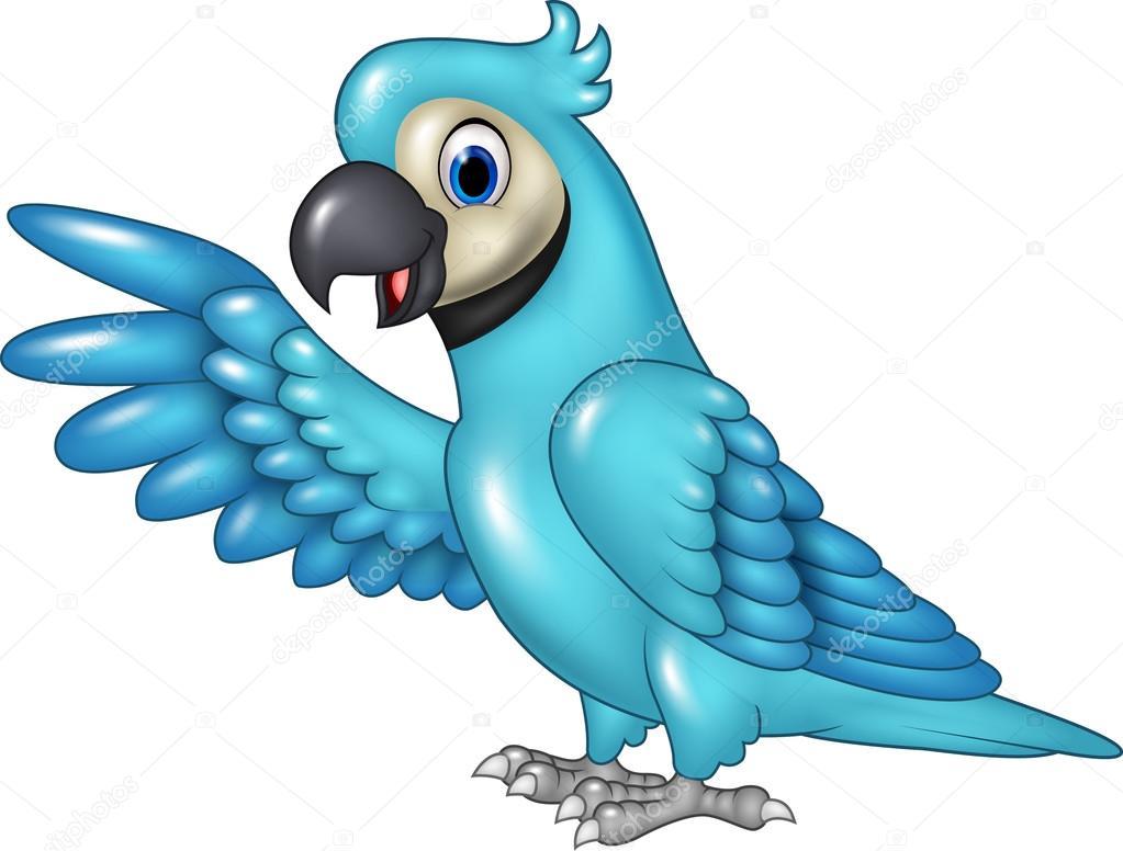 Well-known Arara azul engraçada dos desenhos animados, apresentando isolado  DJ52