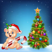 Photo Cartoon happy bear with Christmas tree on a night sky background