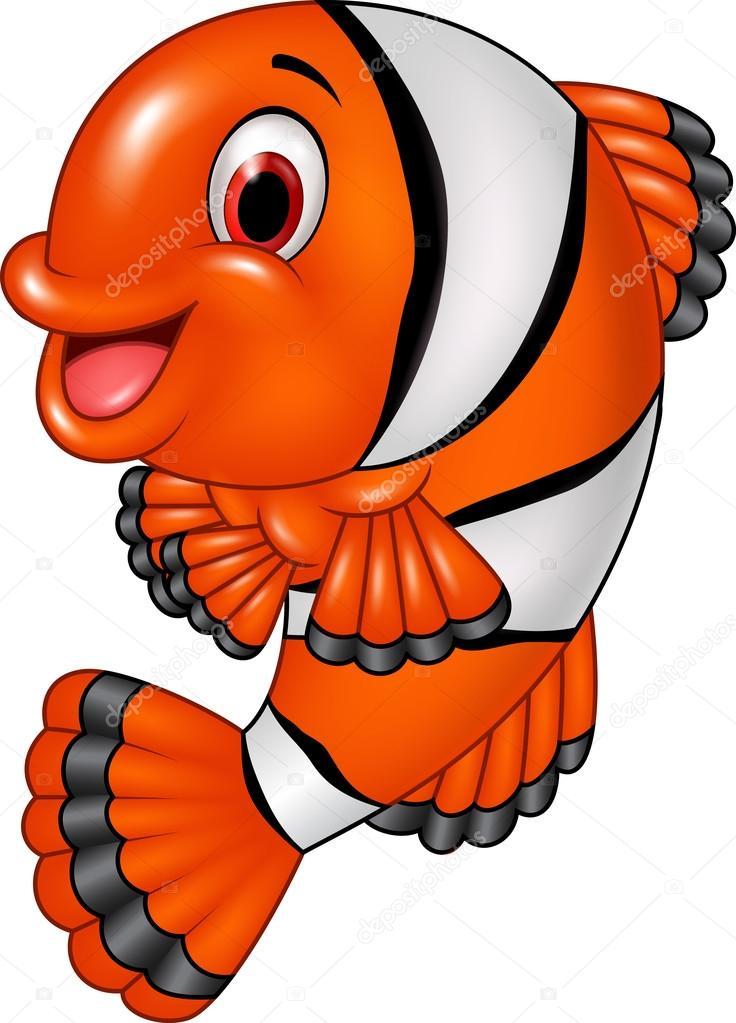 dibujos animados divertidos peces payaso posando aislada