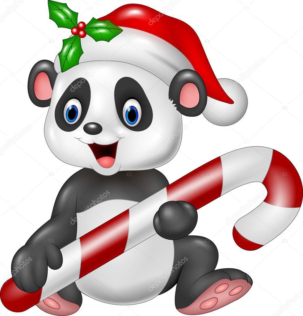 Mignon Bebe Panda Tenant Des Bonbons De Noel Image Vectorielle