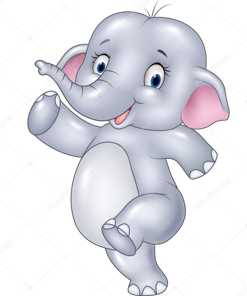 Cartoon Funny Elephant Isolated On White Background Stock Vector