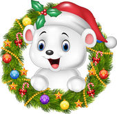 Photo Cute baby polar bear holding Christmas Wreath with ribbons, balls and bow