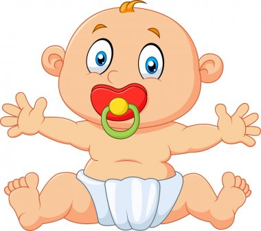 Cute baby boy sitting with pacifier isolated on white background