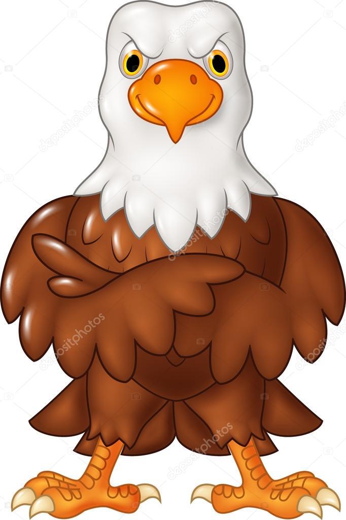 Cartoon funny eagle cartoon posing isolated on white background