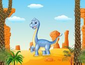 Photo Cute dinosaur posing with the desert background