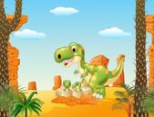 Cartoon Mother and baby dinosaur hatching with the desert background
