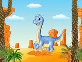 Cartoon mom and baby dinosaur hatching with the desert background