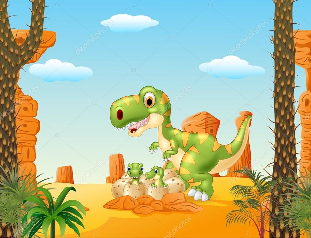 Cartoon Mother And Baby Dinosaur Hatching With The Desert